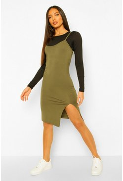 Khaki Tall 2-in-1 Long Sleeve Midi Slip Dress