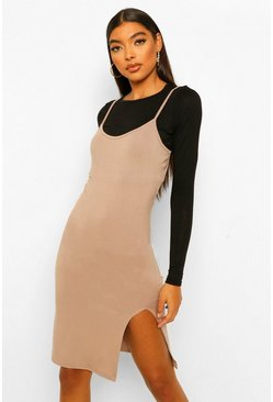 Mocha beige Tall 2-in-1 Long Sleeve Midi Slip Dress