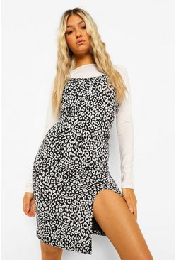 Black Tall Leopard Print 2-in-1 Long Sleeve Mini Dress