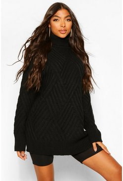 Black Tall Roll Neck Chunky Cross Knit Jumper