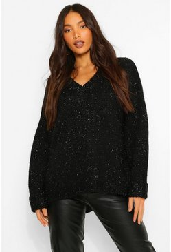 Black Tall Metallic Tinsel Knit Oversized Jumper