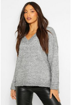 Grey Tall Metallic Tinsel Knit Oversized Sweater