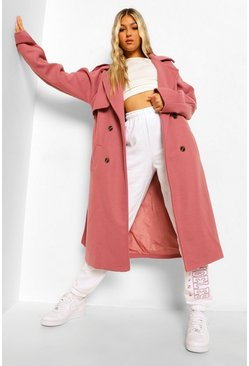 Pink Tall Wool Look Belted Trench Coat
