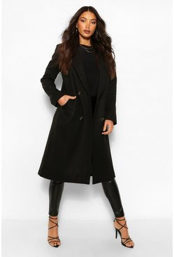 Black Tall Double Breasted Boyfriend Wool Look Check Coat
