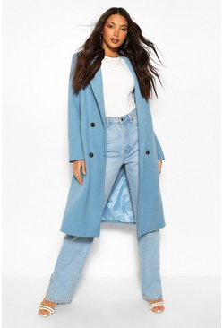 Blue Tall Double Breasted Boyfriend Wool Look Check Coat