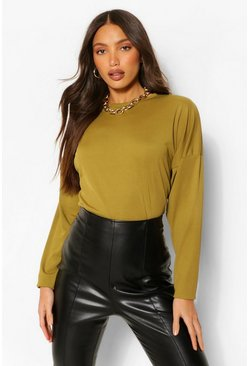 Olive green Tall Rib Long Sleeve Sweater