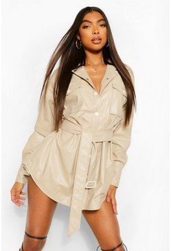 Tall PU Oversized Belted Shirt Jacket, Ecru blanc