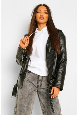 Black Tall Leather Look PU Biker Jacket