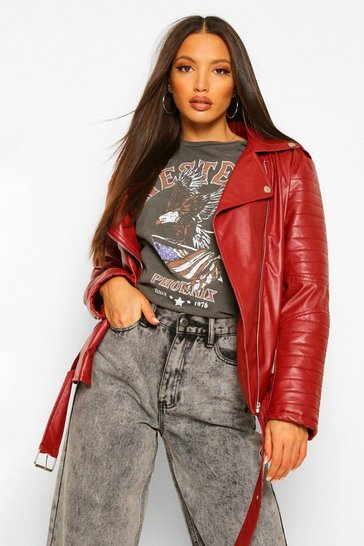 Red Tall Leather Look PU Biker Jacket