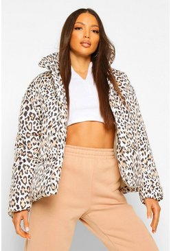 Black Tall Leopard Print Puffer Jacket