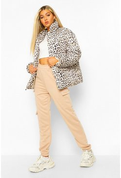 Brown Tall Leopard Print Puffer Jacket