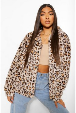 Brown Tall Faux Fur Leopard Print Oversized Shacket