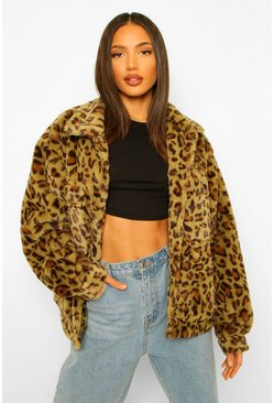 Tall Faux Fur Leopard Print Oversized Shacket, Khaki kaki