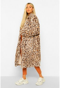 Brown Tall Faux Fur Leopard Print Longline Coat