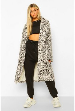 Grey Tall Faux Fur Leopard Print Longline Coat