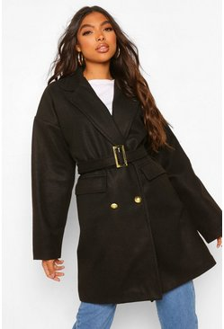 Black Tall Military Detail Belted Wool Look Coat