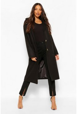 Black Tall Pocket Detail Longline Wool Look Coat