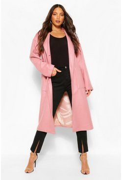 Pink Tall Pocket Detail Longline Wool Look Coat