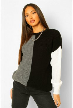 Black Tall Colour Block Knitted Jumper