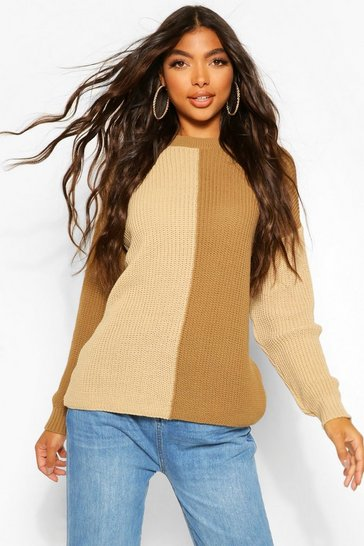 Tan brown Tall Colour Block Knitted Jumper