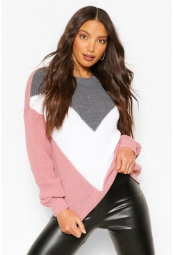 Pink Tall Colour Block Knitted Jumper