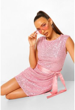 Pink Tall Sequin Shoulder Pad Belted Mini Dress