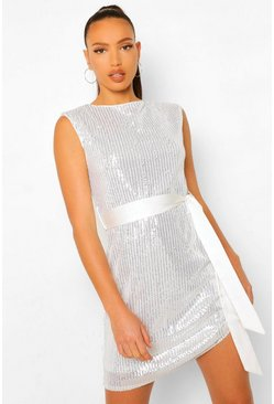 Silver Tall Sequin Shoulder Pad Belted Mini Dress