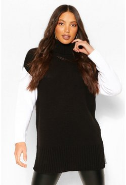 Tall Colour Block High Neck Jumper, Black negro