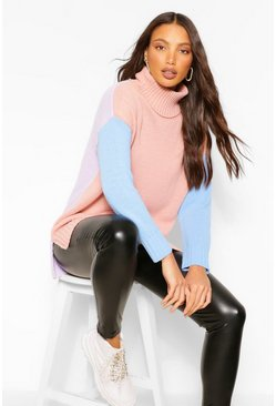 Tall Colour Block High Neck Jumper, Blush rose