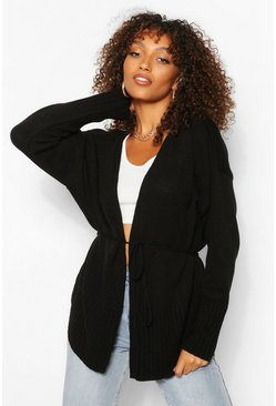 Black Tall Oversized Wrap Around Cardigan