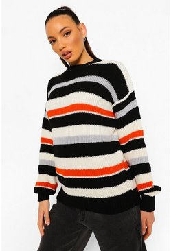 Black Tall Stripe Knitted Jumper