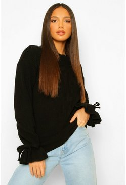 Tall Bell Sleeve Knitted Jumper, Black negro