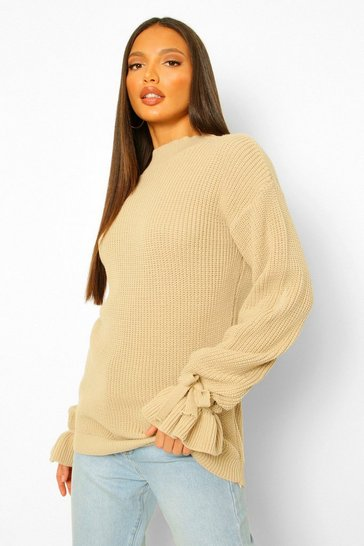 Stone beige Tall Bell Sleeve Knitted Jumper
