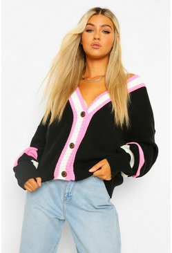 Black Tall Stripe Colour Block Knitted Cardigan