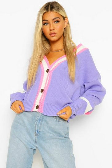 Lilac purple Tall Stripe Colour Block Knitted Cardigan
