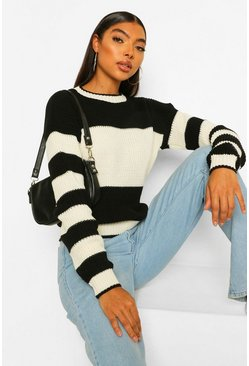 Black tall Stripe Colour Block Knitted Jumper