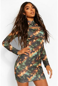 Black Tall High Neck Cut Out Tie Dye Mini Dress