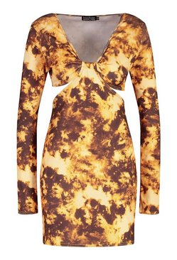 Yellow Tall Tie Dye Cut Out Long Sleeve Mini Dress