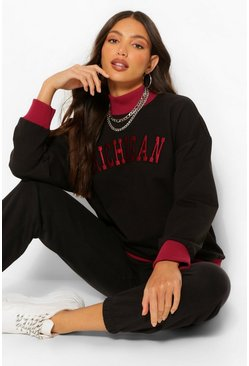 Black Tall 'Michigan' Varsity Sweater