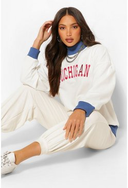 Tall 'Michigan' Varsity Sweater, Cream blanc