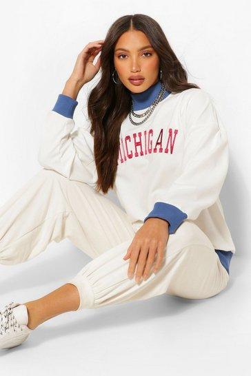 Cream white White Tall 'Michigan' Varsity Sweater