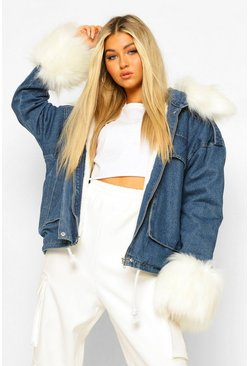 Tall Faux Fur Collar And Cuff Denim Jacket, Indigo azul