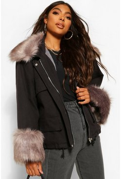 Tall Faux Fur Collar And Cuff Jacket, Black noir