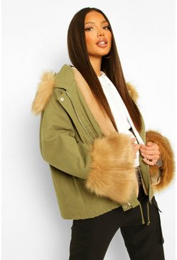 Tall Faux Fur Collar And Cuff Jacket , Khaki kaki