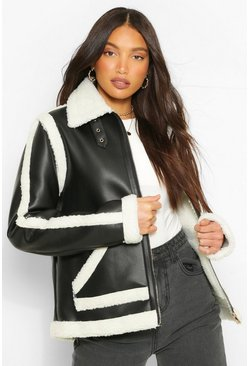 Black Tall Faux Leather Aviator Jacket