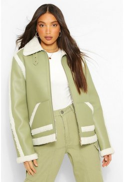Khaki Tall Faux Leather Aviator Jacket