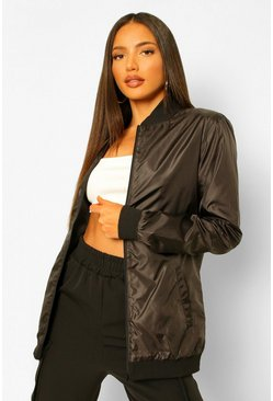 Black Tall Waterproof Longline Bomber Jacket