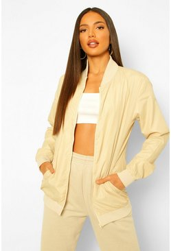Stone beige Tall Waterproof Longline Bomber Jacket
