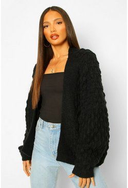 Black Tall Bubble Knit Chunky Cardigan