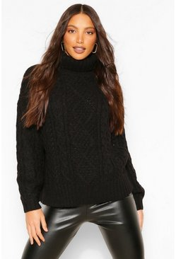 Black Tall High Neck Chunky Cable Knit Jumper